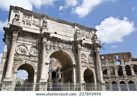 Arch of Constantine and colosseum or coliseum in background at Rome, Italy - stock photo