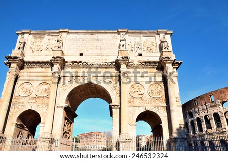 Arch of Constantine and Colosseum, Rome - stock photo