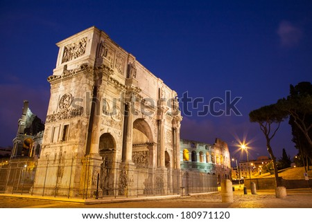 Arch Of Constantine at night in Rome, Italy/Arch Of Constantine at night in Rome/Arch Of Constantine at night in Rome, Italy - stock photo