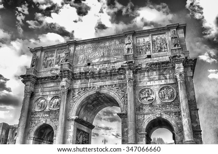 Arch of Constantine at the Roman Forum in Rome, Italy - stock photo