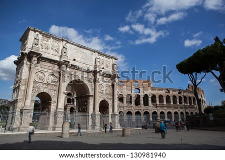 Arch of Constantine in Rome - stock photo
