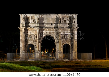 Arch of Constantine in Rome by night - stock photo
