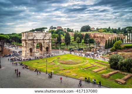 Arch of Constantine in Rome, Italy. View from the Coliseum. - stock photo