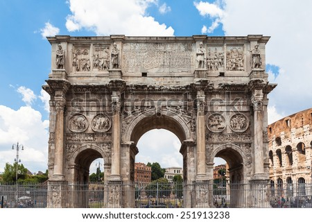 Arch of Constantine near colosseum in Rome, Italy - stock photo