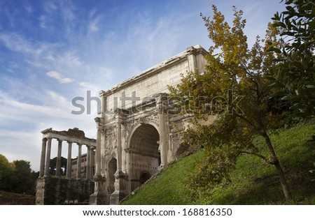 Arch of Emperor Septimius Severus in the Roman Forum in Rome, Italy