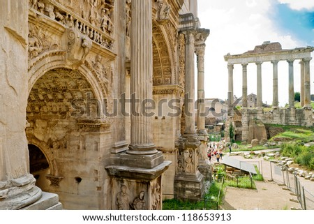 Arch of Emperor Septimius Severus in the Roman Forum, Rome, Italy. Roman Forum is one of the main travel attractions in Rome. Ruins and ancient architecture of Roman Forum.