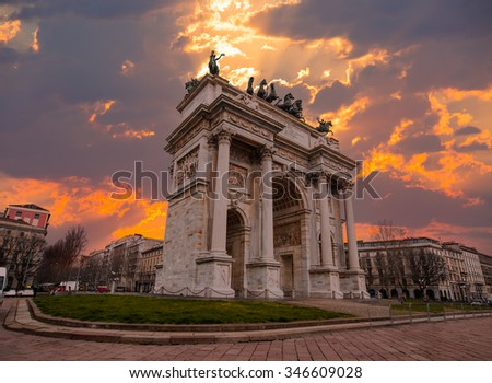 Arch of Peace in Sempione Park, Milan, Italy - stock photo