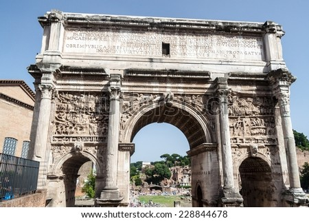 Arch of Septimius Severus at the Roman Forum, Rome, Italy - stock photo