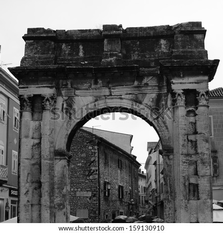 Arch of Sergii from the first century, built in the Istrian peninsula town of Pula, Croatia - stock photo