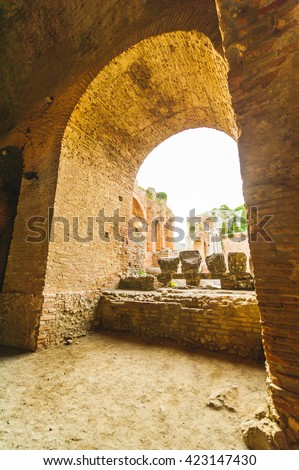 Arch of the famous and beautiful ancient greek theatre ruins Taormina, Messina, Sicily, Italy - stock photo
