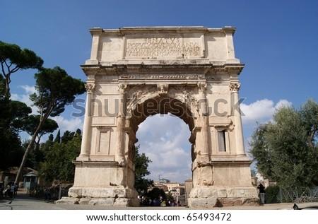 Arch of Titus on the Via Sacra, Rome, Italy - stock photo