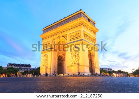 Arch of Triumph, Champs-Elysees at night in Paris - stock photo