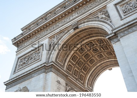 Arch of Triumph detail in Paris, France. - stock photo
