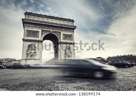 Arch of Triumph on Place de l'Etoile in Paris, France - stock photo