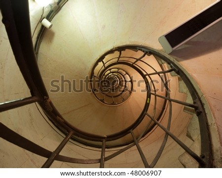 Arch of Triumph, Paris (France): view of the internal stairway from the ground floor - stock photo