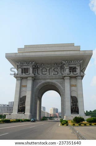 Arch of Triumph, Pyongyang, North-Korea - stock photo