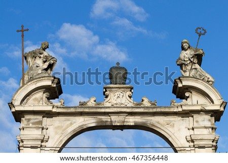Arch over entrance of Cathedral of Saint Yura in Lviv, Ukraine