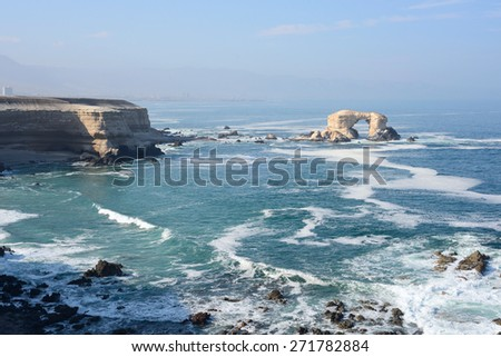 Arch Rock Formation in La Portada National Reserve is an emblem of Chilean Coast - stock photo