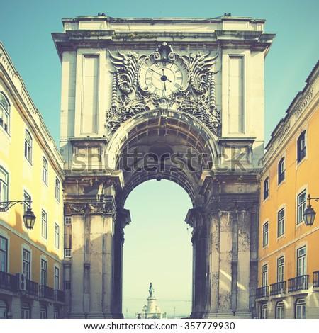 Arch (Rua Augusta) in Lisbon, Portugal. Retro style filtred image - stock photo