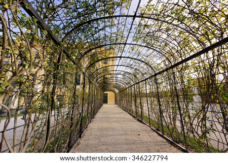 Arch view at Schonbrunn Palace. Vienna Austria - stock photo