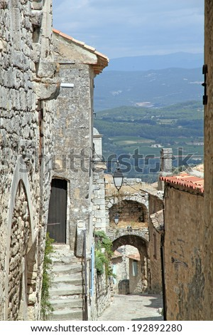 Arch walls at Lacoste the hill top village in Provence - stock photo