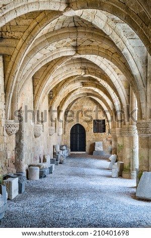 Arch way in ancient fortress. Rodos island, Greece - stock photo