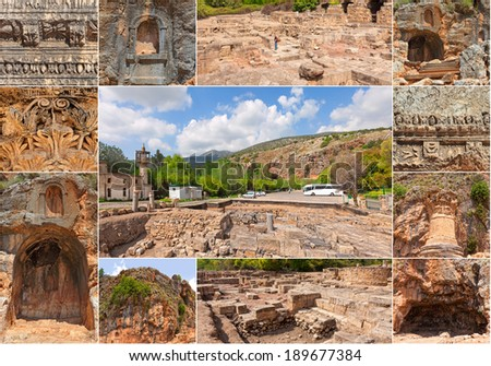 Archaeological and architectural antiquities in natural reservation of  Hermon river (Banyas). North of Israel  - stock photo