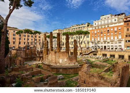 archaeological area of Largo Torre Argentina. Rome. Italy.