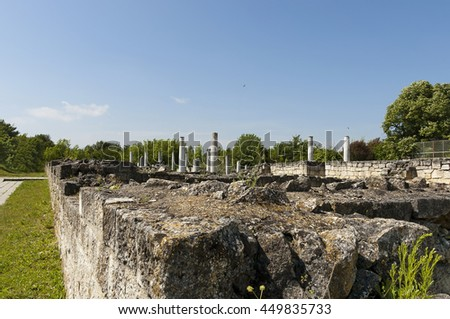 Archaeological complex Abritus in present town Razgrad, Bulgaria, Europe. Before renovation part of ruin and prepare for tourists.