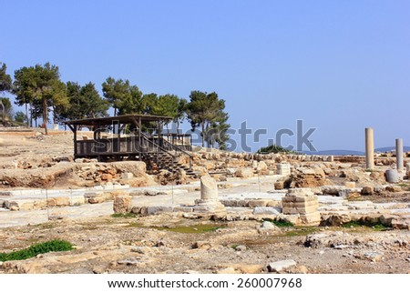 archaeological excavations, national park Zippori, Galilee, Israel - stock photo