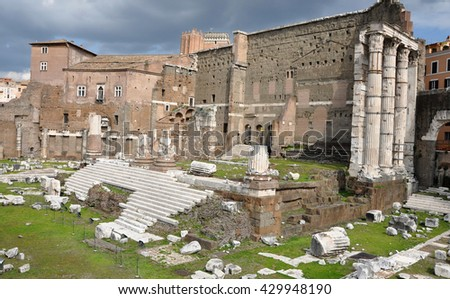 Archaeological excavations of the Imperial forum of Emperor Augustus. Rome, Italy - stock photo