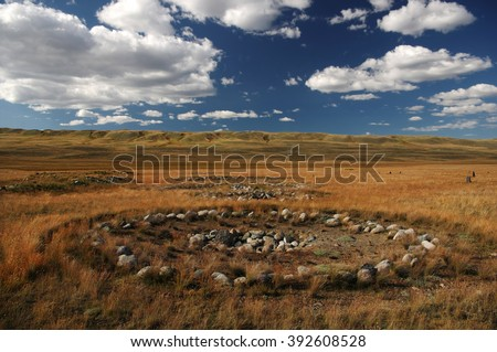 Archaeological excavations on the site of ancient Scythian burials of Pazyryk culture on the river Ak-Alakha, where was found the mummy of a shaman, Plateau Ukok, Altai mountains, Siberia, Russia - stock photo