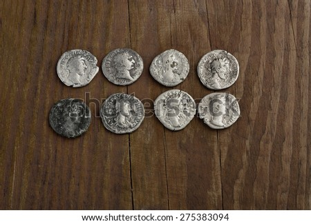 archaeological find of Roman silver denarius - stock photo