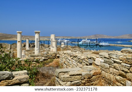 Archaeological island Delos in Greece - stock photo