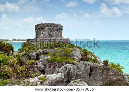 Archaeological ruins of Tulum at Caribbean Sea in Mexico - stock photo