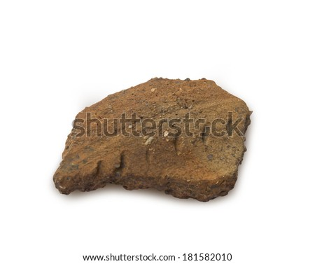 Archaeological shard fragment of pottery before XVI century - stock photo