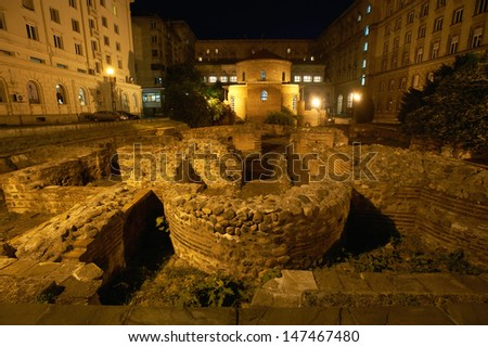 Archaeological site around church of Saint George, Sofia, Bulgaria