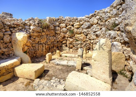 Archaeological site of Grantija Temple on the island of Gozo in Malta. - stock photo