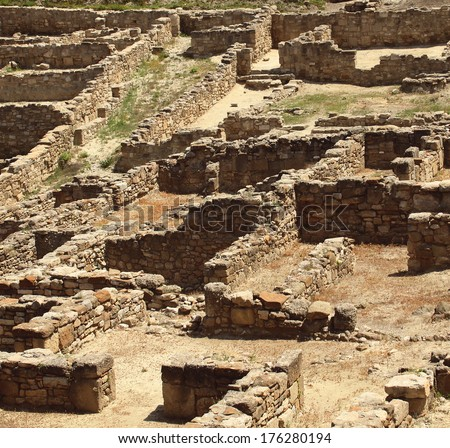 Archaeological site of the ancient city - stock photo