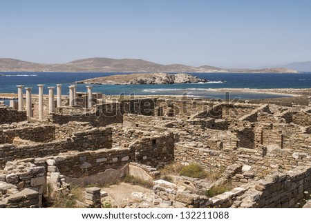 Archaeological site on island of Delos, Greece - stock photo