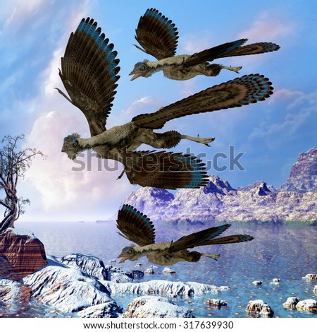 Archaeopteryx Flying Reptiles - Archaeopteryx reptile birds fly near a shoreline hunting for fish on a cloudy prehistoric day. - stock photo