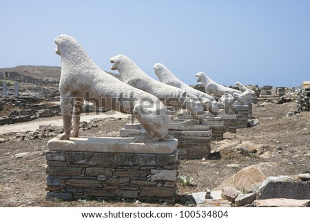 Archaic statues of lions on the sacred way, Delos,Greece - stock photo