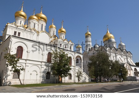 Archangel and Annunciation Cathedral of the Moscow Kremlin, Russia. - stock photo