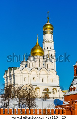 Archangel cathedral and Ivan the Great belfry of Moscow Kremlin in the winter day.