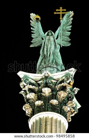 Archangel Gabriel at night, Heroes Square, Budapest, Hungary - stock photo