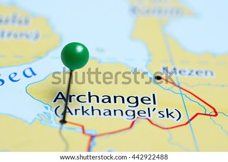 Archangel pinned on a map of Russia  - stock photo