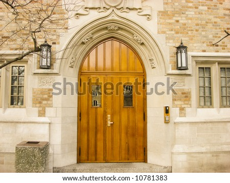 Arched Doorway on the Campus of Notre Dame University in South Bend, Indiana - stock photo