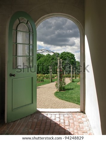 Arched Doorway to Cloudy Rose Garden