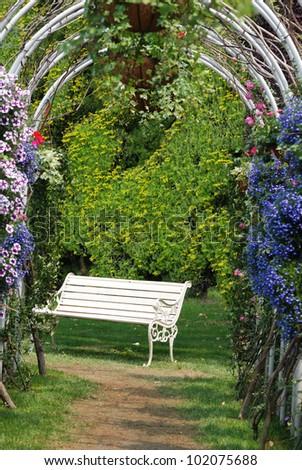 arched flower door - stock photo