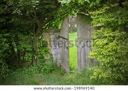 arched garden door, framed with beech leaves - stock photo